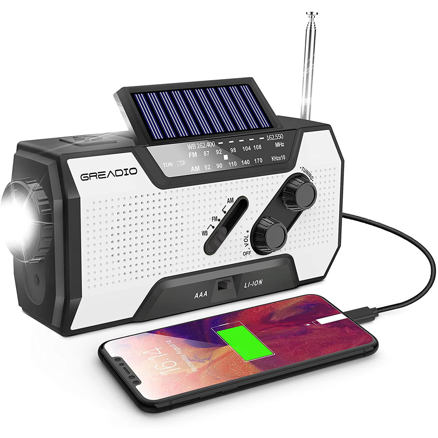 Greadio Emergency Weather Solar Powered Portable Radio