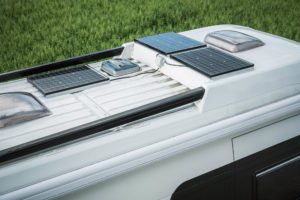 Parked RV with Solar Panels