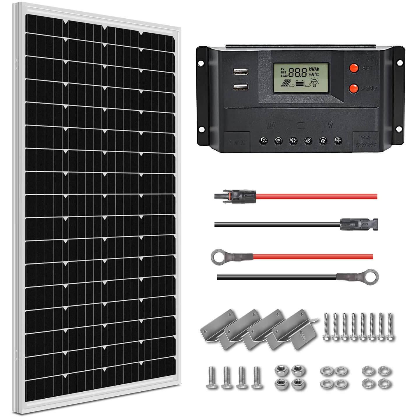 WEIZE 100 Watt 12 Volt Solar Panel Starter Kit