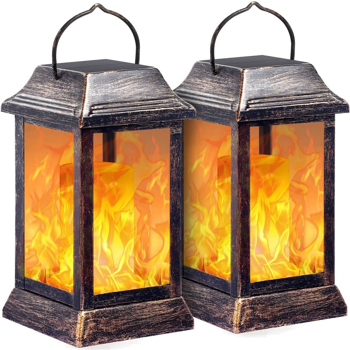 TomCare Metal Flickering Flame Solar Lantern